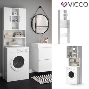 Vicco Waschmaschinenschrank LUIS 190x64cm Weiß Badmöbel Badschrank Hochschrank