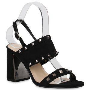 Mytrendshoe Damen Sandaletten Riemchensandaletten Nieten Metallic High Heels 821787, Farbe: Schwarz, Größe: 38