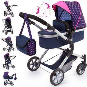 Puppenwagen City Neo blau/pink mit Einhorn