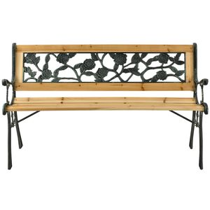 Juskys Gartenbank Venezia – 2-Sitzer Holzbank mit Armlehnen & Rückenlehne – wetterfeste Sitzbank 122x54x73 cm - Seitenelemente aus Gusseisen