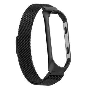 Für xiaomi mi band 3/4 smart armband uhrenarmband armband metall handgelenk schwarz 210mm Mesh Magnetband aus Edelstahl