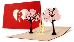 Liebespaar unter Bäumen Hochzeitskarte 3D Pop Up Klappkarte Glückwunschkarte Einladungskarte Geschenkkarte für die Liebste