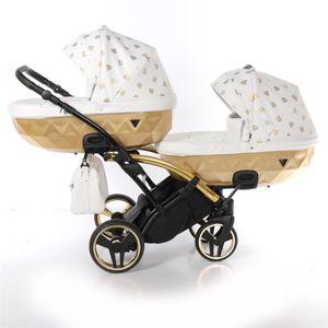 Junama Glow Duo Slim Kinderwagen Zwillingswagen Geschwisterwagen by Lux4kids Gold 02 2in1 ohne Babyschale