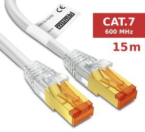 mumbi LAN Kabel 15m CAT 7 Rohkabel Netzwerkkabel S/FTP PimF CAT7 Rohkabel Ethernet Kabel Patchkabel RJ45 15Meter, weiss