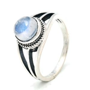 Mondstein Ring 925 Silber Sterlingsilber Damenring weiß (MRI 133-04),  Ringgröße:62 mm / Ø 19.7 mm