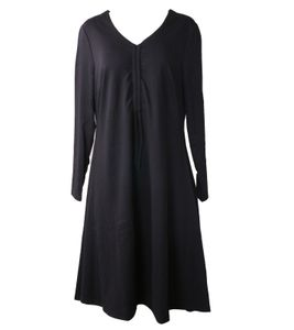 sheego Jersey-Kleid modisches Damen Relax-Kleid mit V-Ausschnitt Schwarz, Größe:44