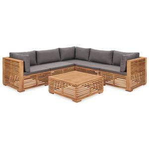 6-tlg. Garten-Lounge-Set mit Auflagen Massivholz Teak