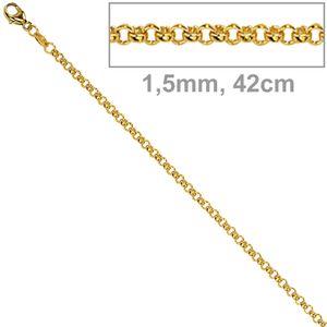 JOBO Erbskette 333 Gelbgold 1,5 mm 42 cm Gold Kette Halskette Karabiner