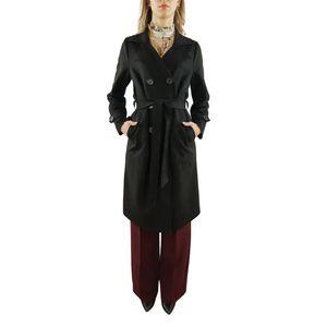 PAOLA SORMANI Trench-Coat aus Wildleder-Immitat mit Gürtel, klassisch, schwarz, Größe:36