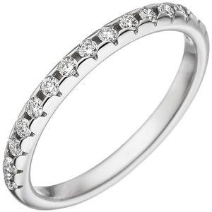 JOBO Damen Ring 54mm 585 Gold Weißgold 15 Diamanten Brillanten Weißgoldring Diamantring