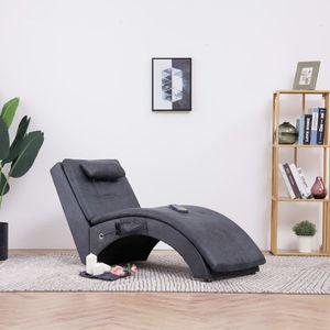 dereoir Massage Chaiselongue mit Kissen Grau Wildleder-Optik