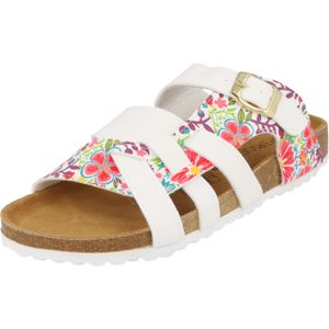 Supersoft 274-295 Damen Pantolette Sandale White Multi Schnalle Lederfußbett
