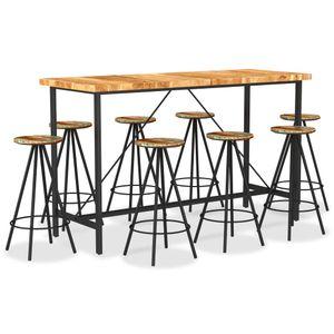 9-tlg. Bar-Set Massivholz Akazie und Altholz