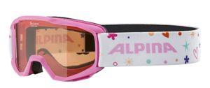 Alpina Kinder Skibrille Schneebrille Piney Singleflex rosa weiss mit Muster