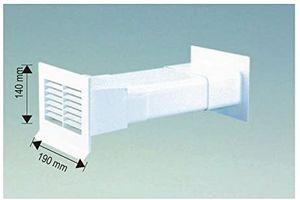Mauerkasten flach mit Rückstauklappe 125 mm System - Außengitter weiß, Flachanschluss, Mauerstärken bis 450 mm