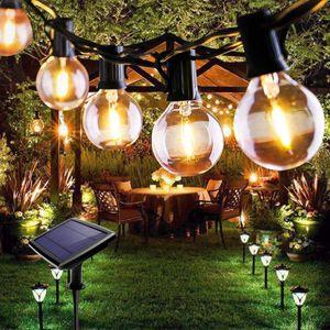 Topchances LED Lichterkette Außen Solar Glühbirnen G40 Wasserdichte für Garten, Hochzeit, Balkon, Haus, Party, Weihnachten Deko, Warmweiß mit 10 Stück Glühbirnen (10 LED)