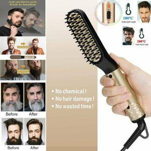 2 IN1 Bartglätter Bürste Elektrische Bart Glätter Haarkamm Schnelle Bartglättung