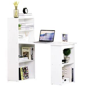 HOMCOM Schreibtisch mit Regal Computertisch Arbeitstisch Laptoptisch Büroregal Weiß L120 x T55 x H120 cm