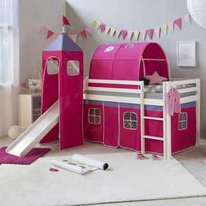 Homestyle4u 1577, Kinder Hochbett mit Rutsche, Leiter, Turm, Tunnel, Vorhang Pink, Massivholz Kiefer Weiß, 90x200 cm