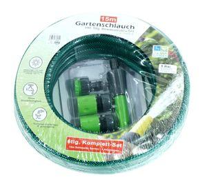 6tlg. Set Gartenschlauch 15m 1/2 Zoll + Anschlüsse Garten Spritze Wasserschlauch