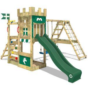 WICKEY Spielturm Ritterburg DragonFlyer mit Schaukel & grüner Rutsche, Spielhaus mit Sandkasten, Kletterleiter & Spiel-Zubehör