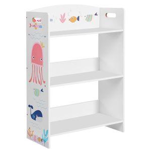 SONGMICS Bücherregal für Kinder | Kinderzimmerregal mit 3 Ablagen | Spielzeug-Organizer weiß GKRS03WT