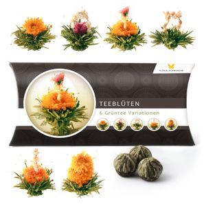 6 Teeblumen Geschenk-Box - Grüntee Variationen, Originelle Geschenk-Idee zum Geburtstag,  Weihnachten, Muttertag oder Valentinstag, tolles Geschenk nicht nur für Frauen und Teeliebhaber, Teeblüten, Erblühtee