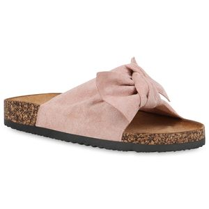 Mytrendshoe Damen Sandalen Pantoletten Sommer Schlappen Hausschuhe 833538, Farbe: Rosa, Größe: 39