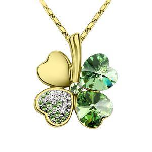 Halskette Damen Kleeblatt Glücksbringer Collier Zirkonia Strass Kristall gold-grün