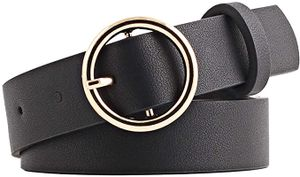 Damen Ledergürtel Mit Rund Schnalle, Jeansgürtel 2.6cm Breit Anzugsgürtel Hüftgürtel Damengürtel