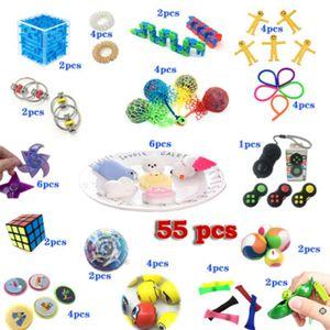 Sensory Fidget Toys Set 55 Stück, Autismus Special Needs Stressabbau Spielzeug Silikon Squeeze Toys, Neue Version von Hand-Gymnastikbällen Set für Kinder und Erwachsene