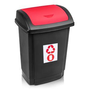 Mülleimer Abfalleimer Mülltrennung Rotho 25 Liter schwarz/rot Plast Team