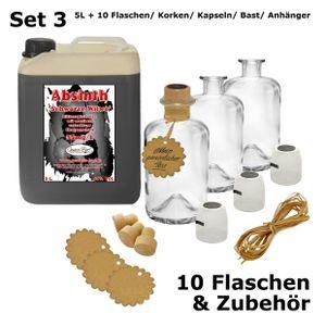 Schwarzer Absinth 5L + 10 Flaschen, Korken, Kapseln, Bast & Anhänger 55%Vol Mit max. Thujon 35mg
