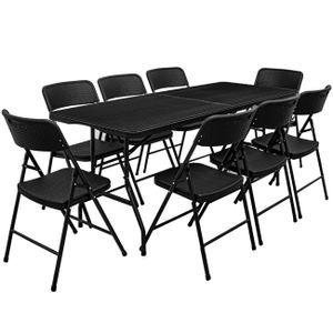 Gartenmöbel Set in Rattan Optik - 180 cm Tisch mit 8 Stühlen Sitzgruppe Klappbar