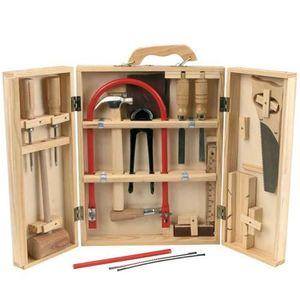 Kinder Werkzeug Holz Werkzeugkasten 17tlg Werkzeugkoffer + Laubsäge Hammer Säge