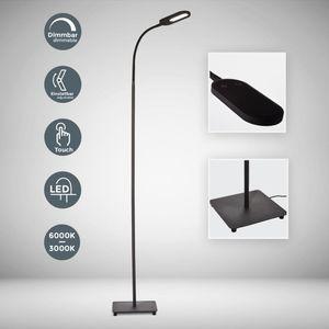 LED Stehlampe dimmbar flexibel inkl. 8W 600 Lumen LED Platine IP20 Stehleuchte 3000 Kelvin warmweiß schwarz B.K.Licht