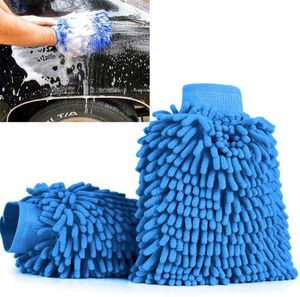 Wasserdicht Mikrofaser Autowaschhandschuh Reinigungshandschuh Autopflege Polierhandschuh Pflege Perfekt für die Nassreinigung von Autos, Motorräder oder im Haushalt 2Pcs Blau