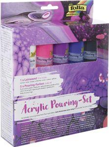 "folia Acrylic Pouring-Set ""INTENSIV"" 5 Farben + 1 Keilrahmen 5 Flaschen à 60 ml"