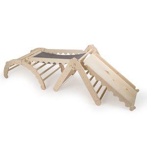 PAKET: 4in1 Wippe Holz und Pikler Dreieck mit Rutsche für Kinder - Indoor Klettergerüst aus Holz und Baumwolle