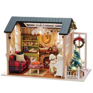 DIY Weihnachten Miniatur Puppenhaus Realistische Mini Holzpuppenhaus 3D Holzhaus Zimmer Handwerk mit Moebel LED-Leuchten Kindertag Geburtstagsgeschenk Weihnachtsdekoration