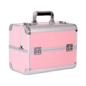 Kosmetikkoffer Beauty Case Schminkkoffer Friseurkoffer Schmuckkoffer, 4 verstellbare Tabletts und 2 Trennwänden für Kosmetika und Werkzeugen Mehrfarbig Veranstalter Silber + Pink Aluminium Makeup Case Box