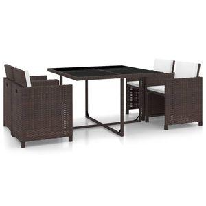 5-teiliges Outdoor-Essgarnitur Garten-Essgruppe Sitzgruppe Tisch + stuhl mit Auflagen Poly Rattan Braun