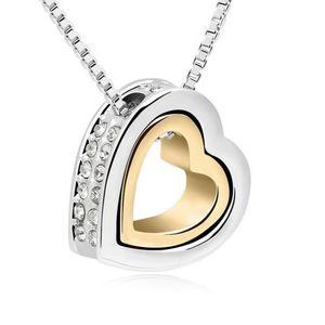 Kette Herz Silber Gold Messing Damen