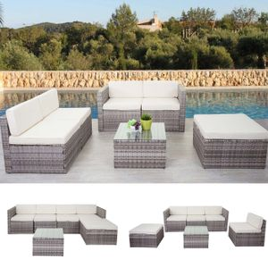 Poly-Rattan-Garnitur HWC-D24, Garten-/Lounge-Set Sofa  grau, Polster creme