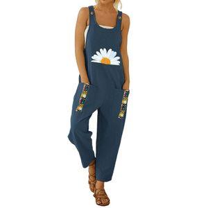 Damen Latzhosen Kleine Gänseblümchen Gedruckt Patchwork Fronttasche Lange Overalls,Farbe:Marineblaues Gänseblümchen,Größe:S