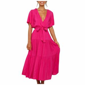 Damen lässig Mode einfarbig V-Ausschnitt Schnürkleid mit ausgestellten Ärmeln Spleißkleid Größe:S,Farbe:Pink