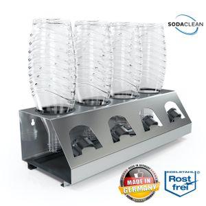 SodaClean® Premium 4er Flaschenhalter mit Abtropfwanne - für SodaStream Duo Crystal Flaschen | aus hochwertigem Edelstahl - Abtropfhalter Abtropfständer inkl. Deckelhalterung | Easy,Fuse,Power,Emil UVM.