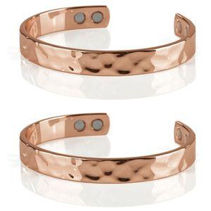 2er Set VITALmaxx Uni Kupfer Armband 9mm inkl. 4 Magnete Damen Herren Armreif Magnetarmband Kupferarmband