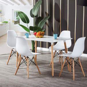 WYCTIN Essgruppe Esstisch mit 4 Stühlen Weiß 110*60*75cm PP Küchentisch Weiß MDF