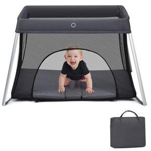 COSTWAY Babybett klappbar, Reisebett mit Matratze und Tragetasche, Laufstall, Babyreisebett, Spielstall, Netzlaufgitter für Kleinkinder, Säuglinge und Neugeborene Dunkelgrau